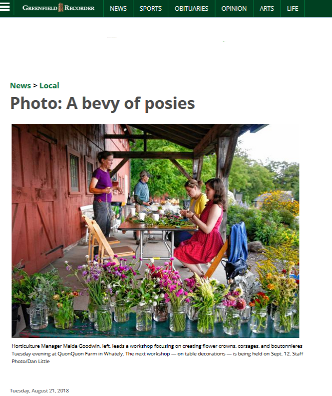 Recorder-Photo: A Bevy of Posies – Quonquont Farm
