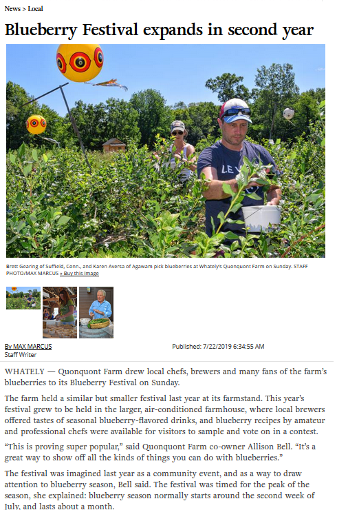 Greenfield Recorder – Blueberry Festival expands in second